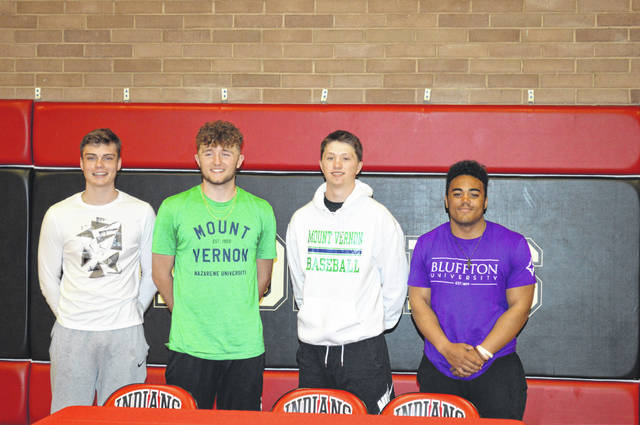 Shawnee athletes signed their letters of intent Wednesday. From left: George Mangas signed to play basketball for Fairmont State; Caden Vermillion and Jarin Bertke both signed to play baseball at Mount Vernon Nazarene University and Reece Bagan will play football at Bluffton University