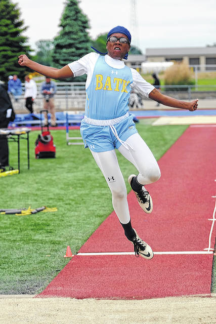 Bath's Dasia Hardison's competes in the long jump during Saturday's Division II regional in Piqua.