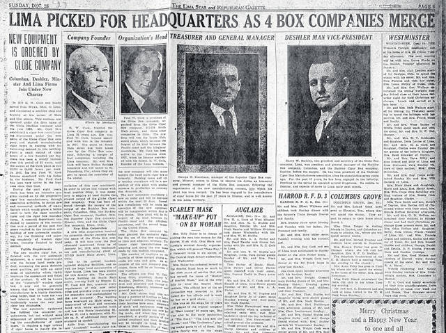A 1927 headline announces the creation of Globe Box Company, which had been created with the merger of the Globe Cigar Box Company with manufacturers in Columbus, Deshler and Minster. Headquarters and manufacturing were at 327-29 S. Main St., Lima.