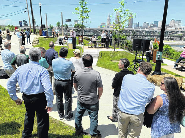Chris Ronayne, president of University Circle Inc., and chairman of the nonprofit Canalway Partners in Cleveland, emceed the June 9 ribbon-cutting marking the completion of the Towpath Trail in Cleveland.