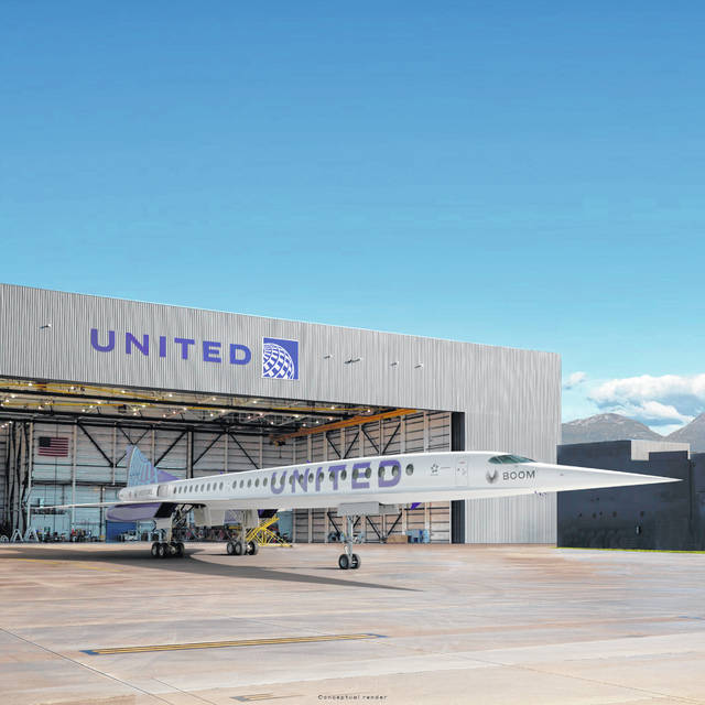 This photo provided by Boom Supersonic shows an artist's rendition of United Airlines Boom Supersonic Overture jet. United said June 3 that it reached a deal with startup aircraft maker Boom Supersonic to buy 15 of Boom's Overture jets. The planes haven't been built yet, but Boom says they will fly at 1.7 times the speed of sound, or around 1,300 mph.
