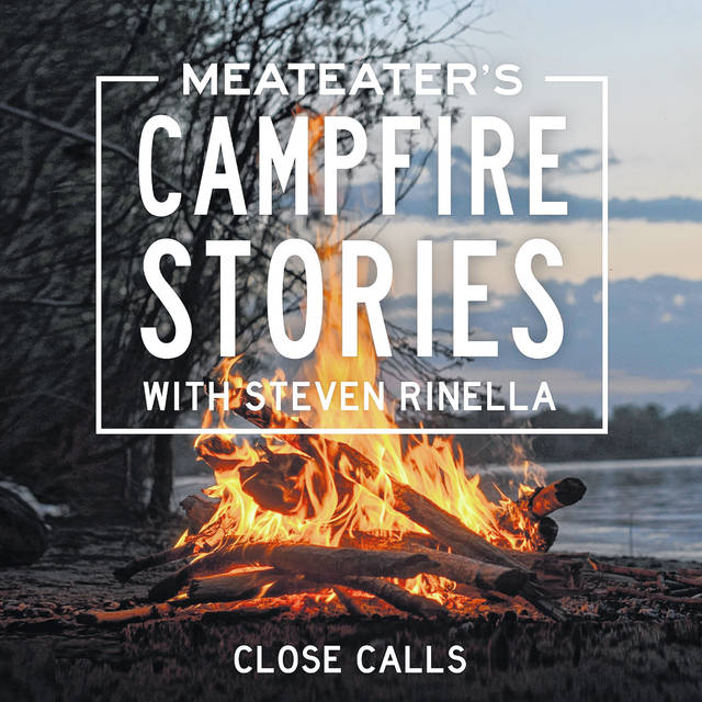 """This image released by Penguin Random House Audio shows art for the audio original """"""""MeatEater's Campfire Stories: Close Calls"""" hosted by Steven Rinella."""