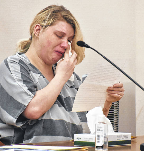 Abbygale Weaver, 27, of Lima, was sentenced Thursday to three years in prison on a charge of aggravated possession of methamphetamine.