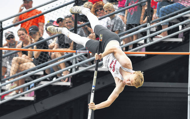 Columbus Grove's Gabe Clement competes in the boys pole vault during Friday's Division III State Track and Field Championships at Westervillle North High School. See more track and field photos at LimaScores.com.