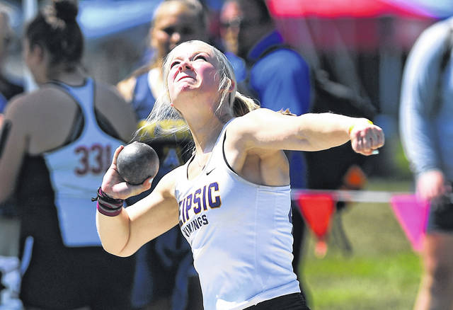 Leipsic's Ella Rigel competes in the girls shot put during Saturday's Division III State Track and Field Championships at Westervillle North High School. See more track and field photos at LimaScores.com.