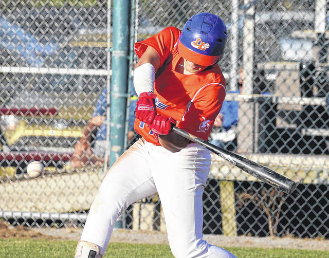 The Lima Locos' Garrett Howe bats during Wednesday night's game against Grand Lake at Simmons Field.