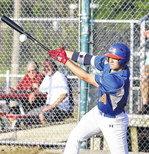 The Lima Locos' Colton Ledbetter bats during Friday night's game against the Sandusky Ice Haulers at Simmons Field.