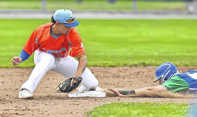 Grand Lake's Marcus Ernst reaches second base before the Lima Locos' Nate White can apply the tag during Thursday night's game at Simmons Field. See more Locos photos at LimaScores.com.