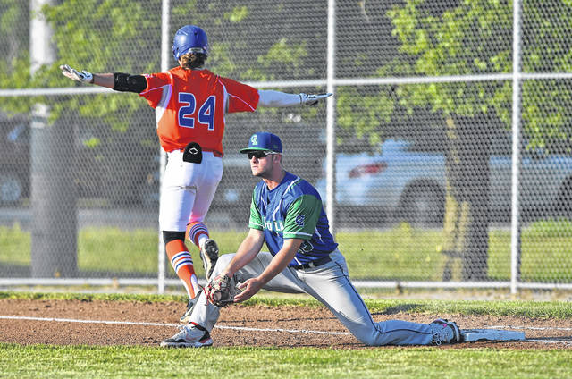 Drew Vogel of the Lima Locos signals safe at first base after he beats the throw to Grand Lake's Caden Kaiser during Friday night's game at Simmons Field.