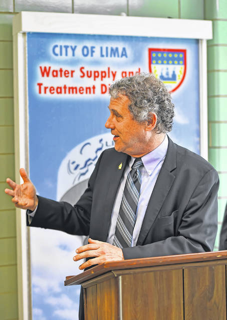 U.S. Senator Sherrod Brown discusses the American Jobs Plan on Tuesday in Lima.