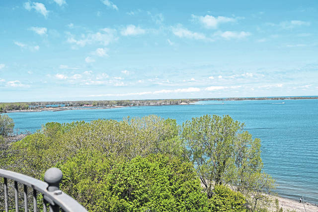 The view from the top of the Erie Land Lighthouse, now open for public tours, is shown May 10 in Erie, Pa.
