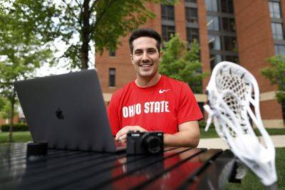 Ohio State lacrosse player Mitchell Pehlke is an aspiring YouTube personality who broadcasts a channel to 14,000 subscribers. (AP photo)