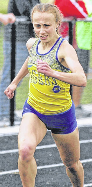 Waynesfield-Goshen's Taylor Spencer won the 1,600 and 3,200 at the Troy Division III regional.