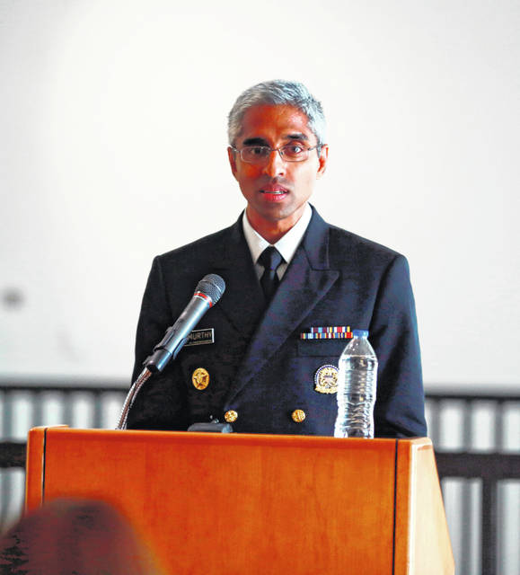 """Surgeon General Vivek Murthy speaks at a ceremony honoring care workers July 13 in Santa Fe, N.M. Murthy told those who toiled during the pandemic that """"the fight isn't over"""" as vaccine rollout stalls in some pockets of the state and the country. People continue to die from COVID-19 in New Mexico and across the country; virtually all of them unvaccinated."""