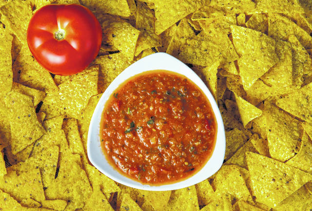 Salsa roja on a bed of tortilla chips is pictured July 7.