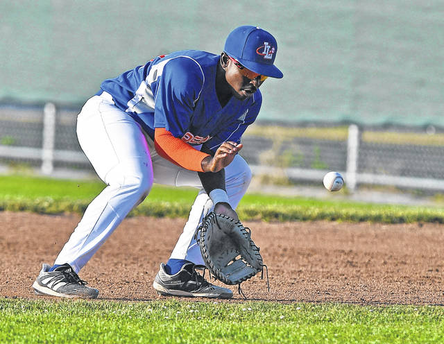 The Lima Locos' Derrick Jackson Jr. fields a grounder during Thursday night's game against the Sandusky Ice Haulers at Simmons Field. See more Locos photos at LimaScores.com.