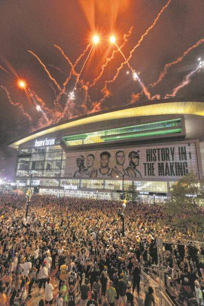 Fireworks explode over Fiserv Forum in Milwaukee after the Bucks defeated Phoenix in Game 6 of the NBA Finals to clinch the league championship.