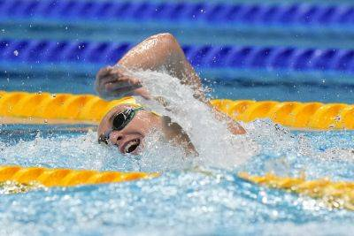 Ariarne Titmus of Australia swims in a women's 200-meter freestyle final at the 2020 Summer Olympics in Tokyo. AP photo