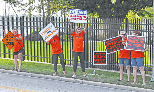A group of women participated in Thursday's demonstration.