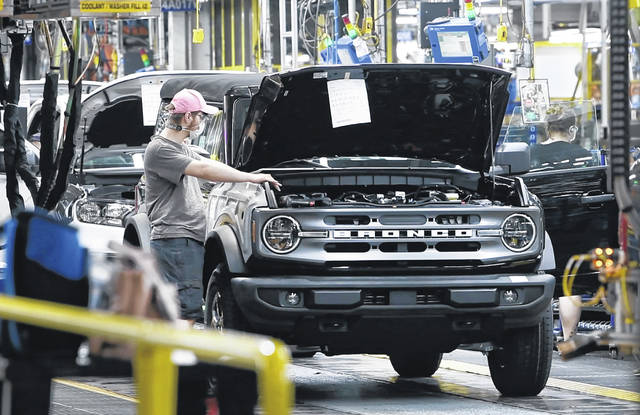 Tour of the Michigan Assembly Plant where the new Ford Bronco SUV is being built, in Wayne, Michigan, on June 14, 2021.