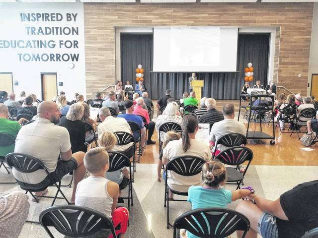 A large crowd turned out Sunday for the dedication of the new Elida elementary school building.