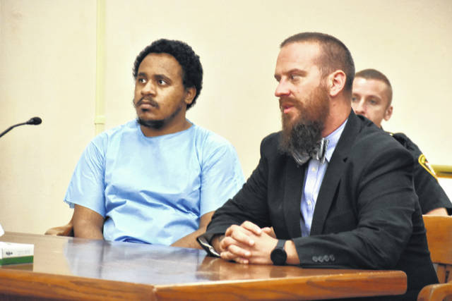 Javohz Paris, 21, of Lima, has been found not competent to stand trial for an armed robbery at the Express Mart, 1590 N. West St., Lima, earlier this year. He is pictured with attorney Carroll Creighton of the Allen County Public Defenders Office.