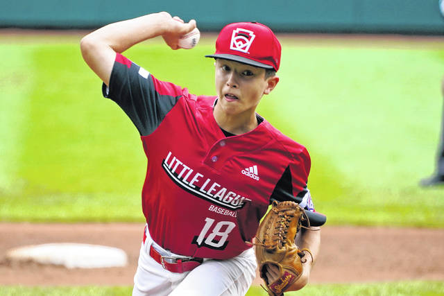 Hamilton, Ohio's Chance Retherford delivers during the first inning of the Little League World Series Championship baseball game against Taylor, Mich., in South Williamsport, Pa., Sunday, Aug. 29, 2021. (AP Photo/Gene J. Puskar)