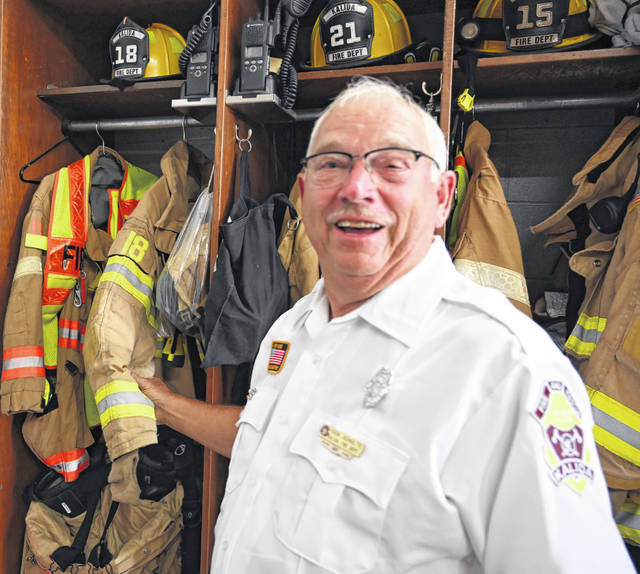 Dick Schulte, 75, retired last week after 50 years with the Kalida Volunteer Fire Department.