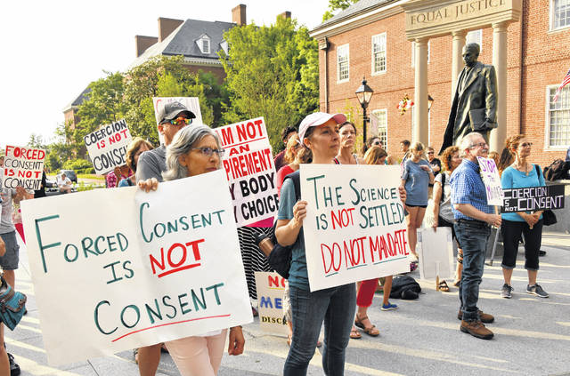In May 2021, more than 200 protesters rallied at Lawyers Mall in Annapolis, Maryland, to oppose the COVID-19 vaccine mandate announced by the University of Maryland system.