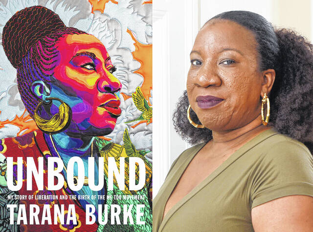 """This combination of photos shows cover art for """"Unbound: My Story of Liberation and the Birth of the Me Too Movement,"""" left, and a portrait of author Tarana Burke taken at her home in Baltimore on Oct. 13, 2020."""