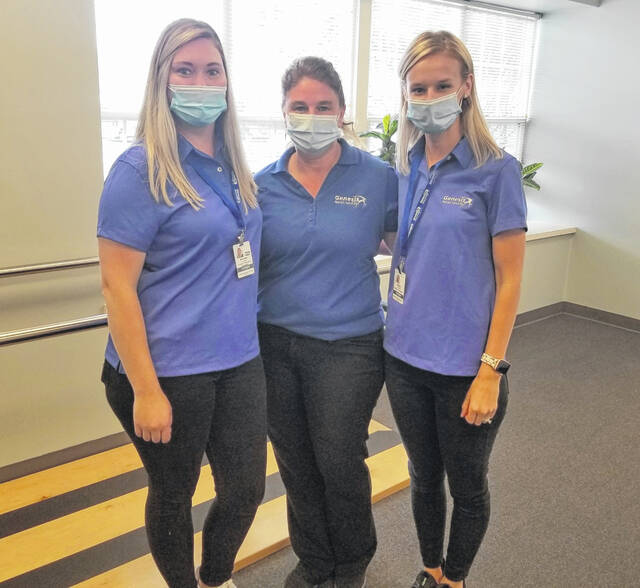 Genesis Rehab Services has opened a location in Lima at 2075 N. Eastown Road, inside Elmcroft of Lima. Pictured are, from left, Ashley Ludwig, physical therapy assistant; Shannon Neumann, area director; and Lisha Tunning, director of rehabilitation and an occupational therapist.