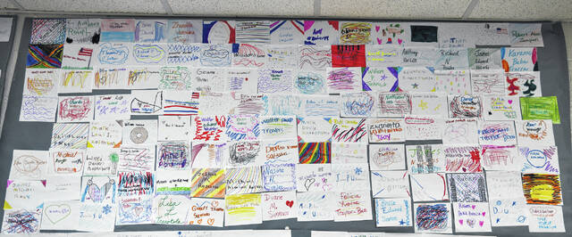 North Middle School students designed a Memorial Wall to commemorate Saturday's anniversary of the September 11, 2001, terrorist attack on the United States.