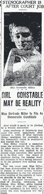 A story in The Lima News on June 10, 1923, expresses Gertrude Miller's interest in the Ottawa Township constable elected position.