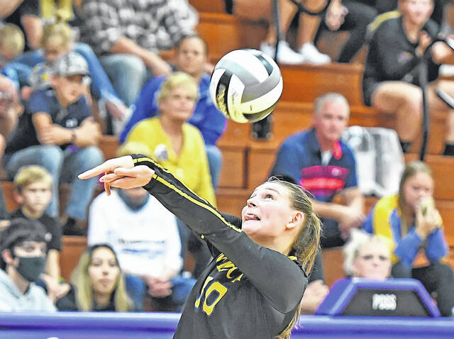 Miller City's Abi Lammers keeps the ball alive during Tuesday night's match at Leipsic.