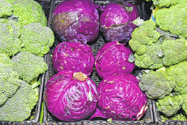 Fresh produce like broccoli and red cabbage get a mist of water at the Charley Family Shop 'n Save in Murrysville, Pennsylvania on July 23, 2020.