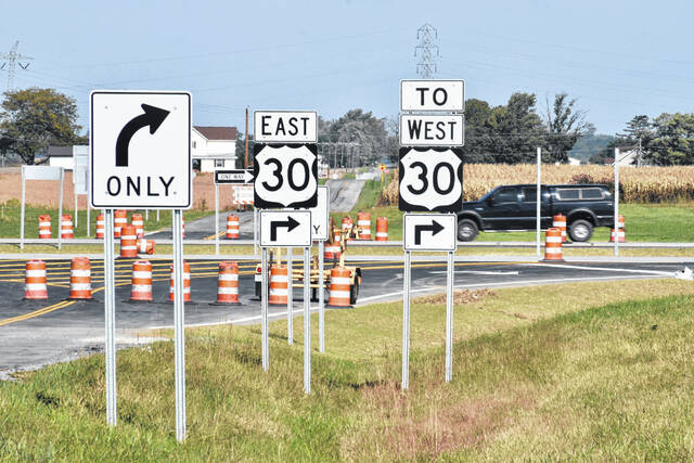 Right turns only will be the new rule for motorists traveling on Thayer Road when a new traffic pattern is put into effect in a week or two.