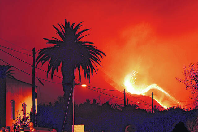 A volcano continues to spew out lava on the Canary island of La Palma, Spain in the early hours Sunday.