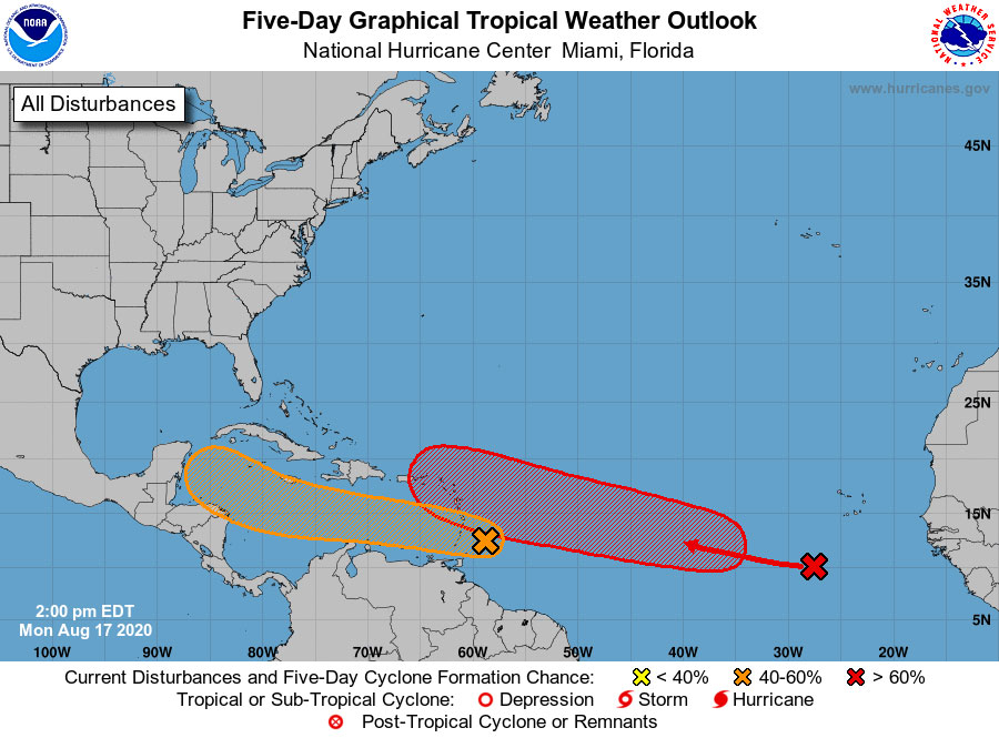 Tropical Wave One brings thunderstorm activity, Two to reach mid-week